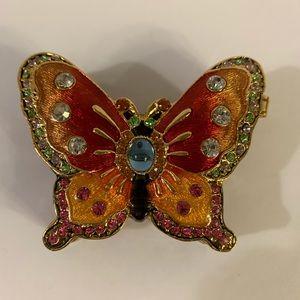Godinger Bejewled Enamel Butterfly Trinket Box